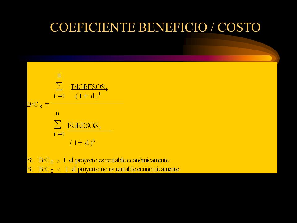 COEFICIENTE BENEFICIO / COSTO