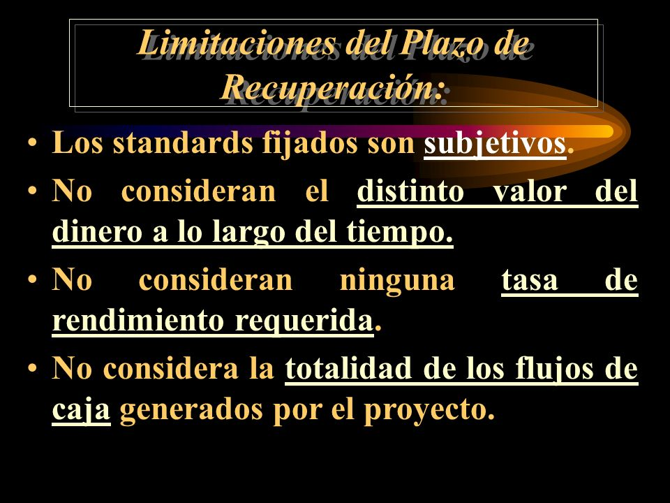 Limitaciones del Plazo de Recuperación: