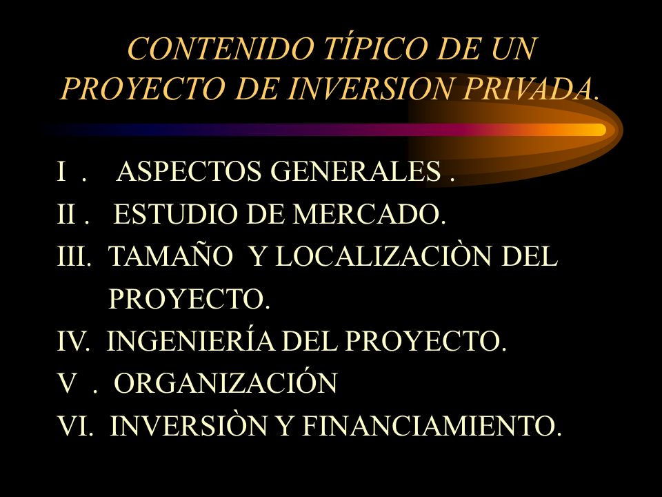 CONTENIDO TÍPICO DE UN PROYECTO DE INVERSION PRIVADA.
