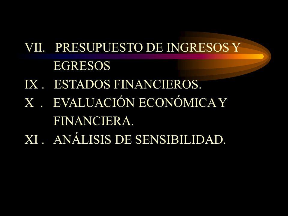 VII. PRESUPUESTO DE INGRESOS Y