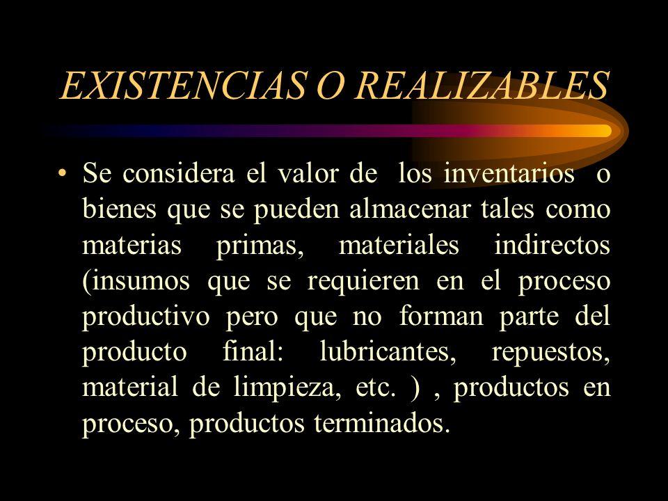 EXISTENCIAS O REALIZABLES