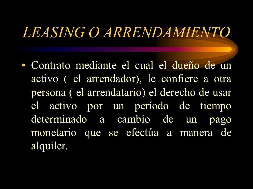 LEASING O ARRENDAMIENTO