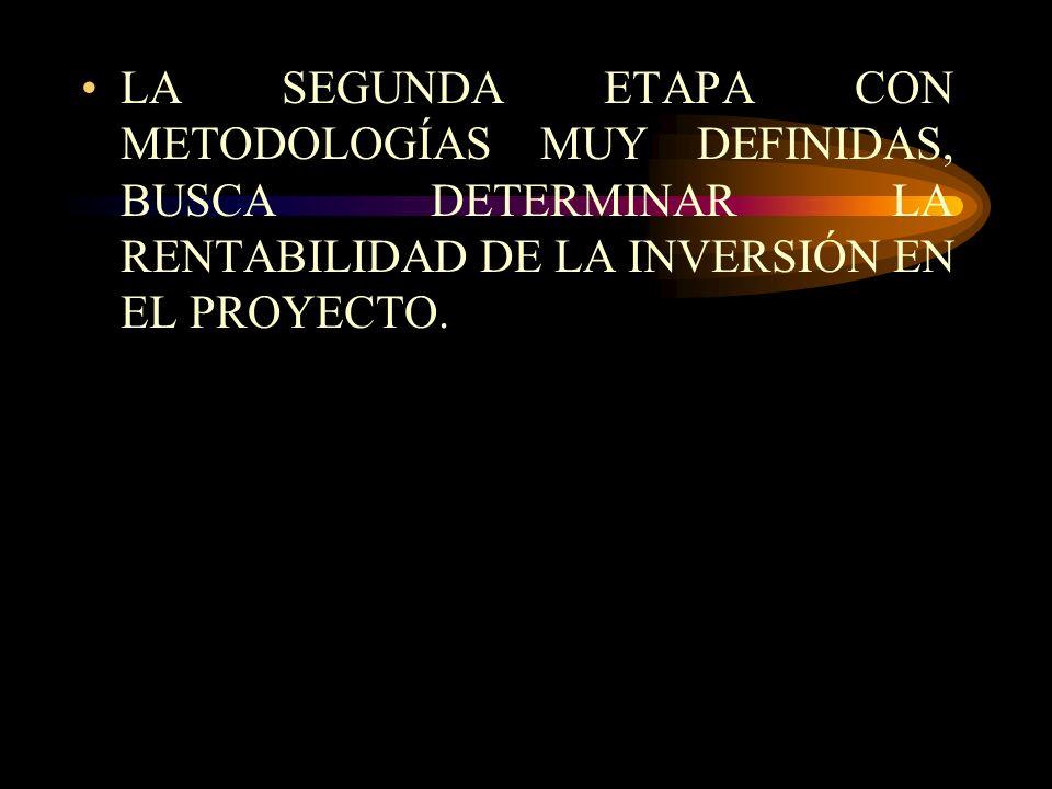 LA SEGUNDA ETAPA CON METODOLOGÍAS MUY DEFINIDAS, BUSCA DETERMINAR LA RENTABILIDAD DE LA INVERSIÓN EN EL PROYECTO.