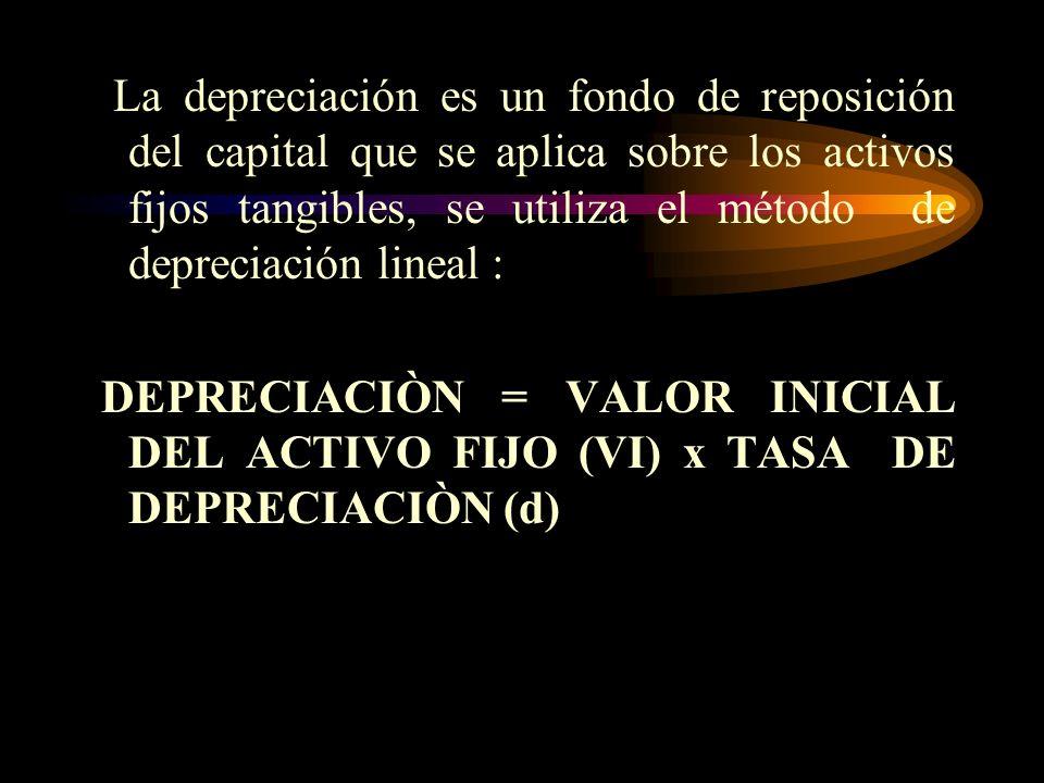 La depreciación es un fondo de reposición del capital que se aplica sobre los activos fijos tangibles, se utiliza el método de depreciación lineal :