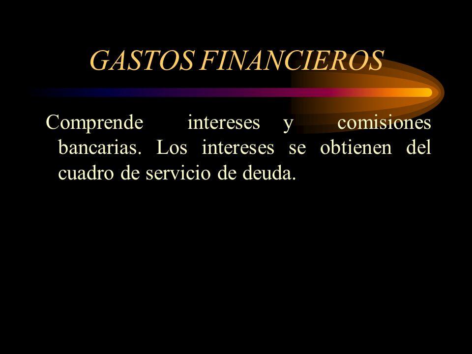 GASTOS FINANCIEROS Comprende intereses y comisiones bancarias.