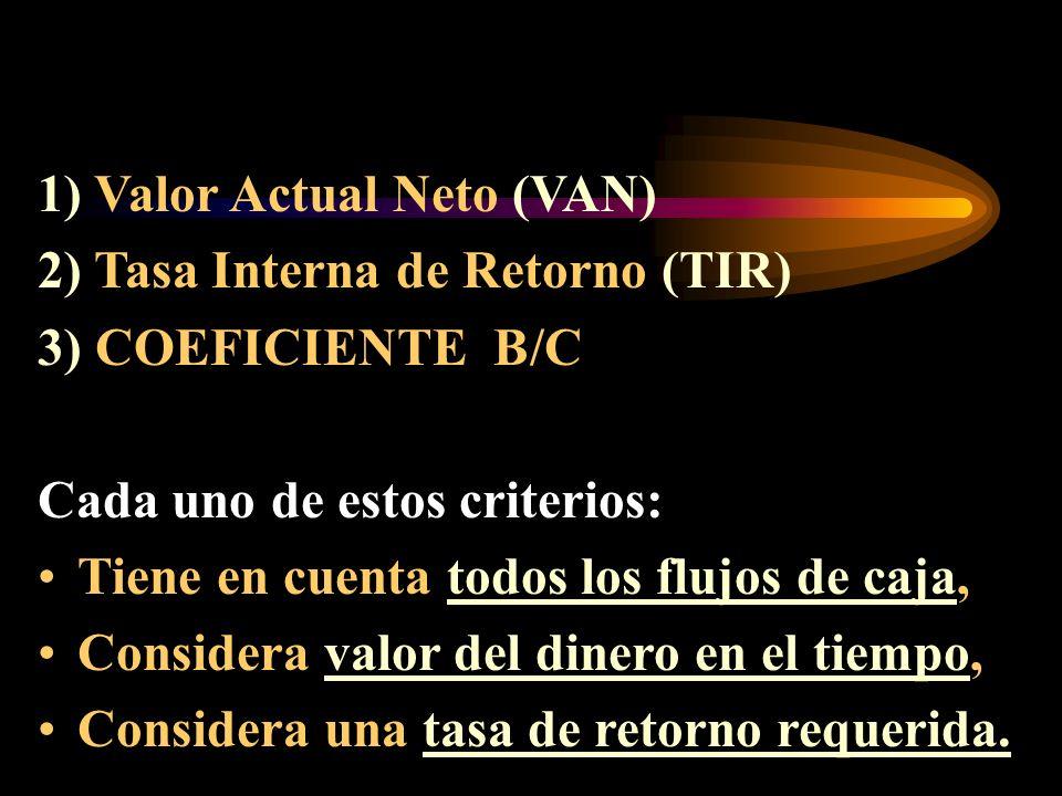 1) Valor Actual Neto (VAN)