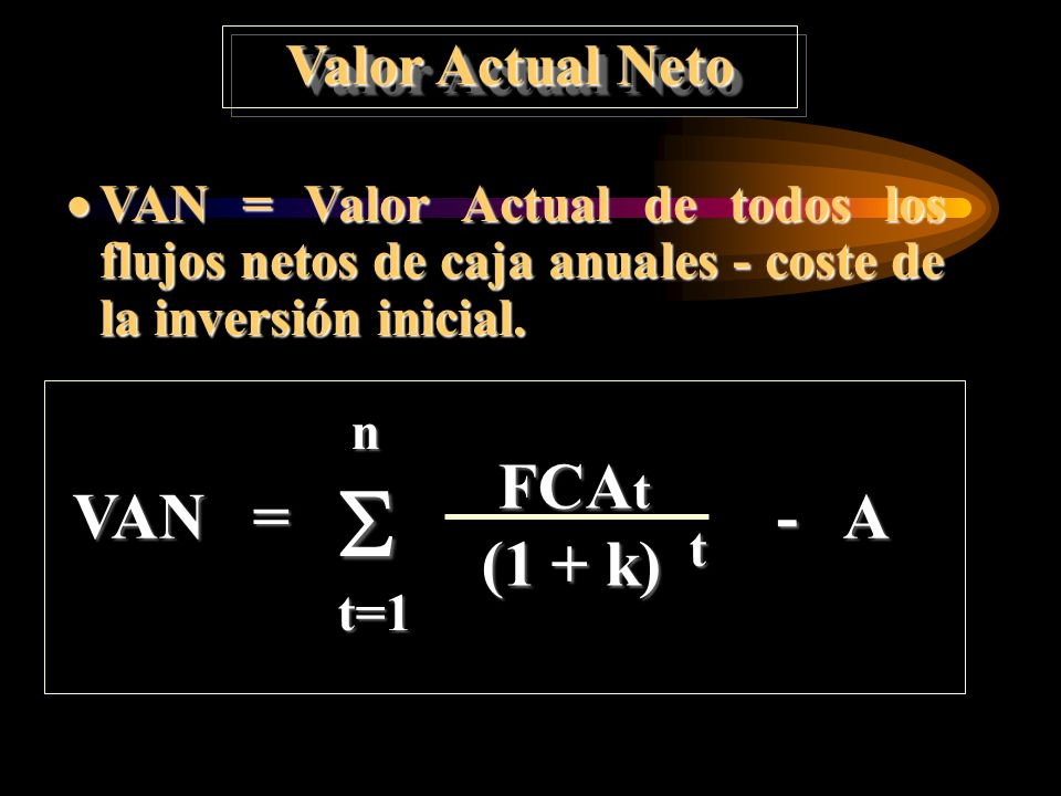  FCAt VAN = - A (1 + k) Valor Actual Neto
