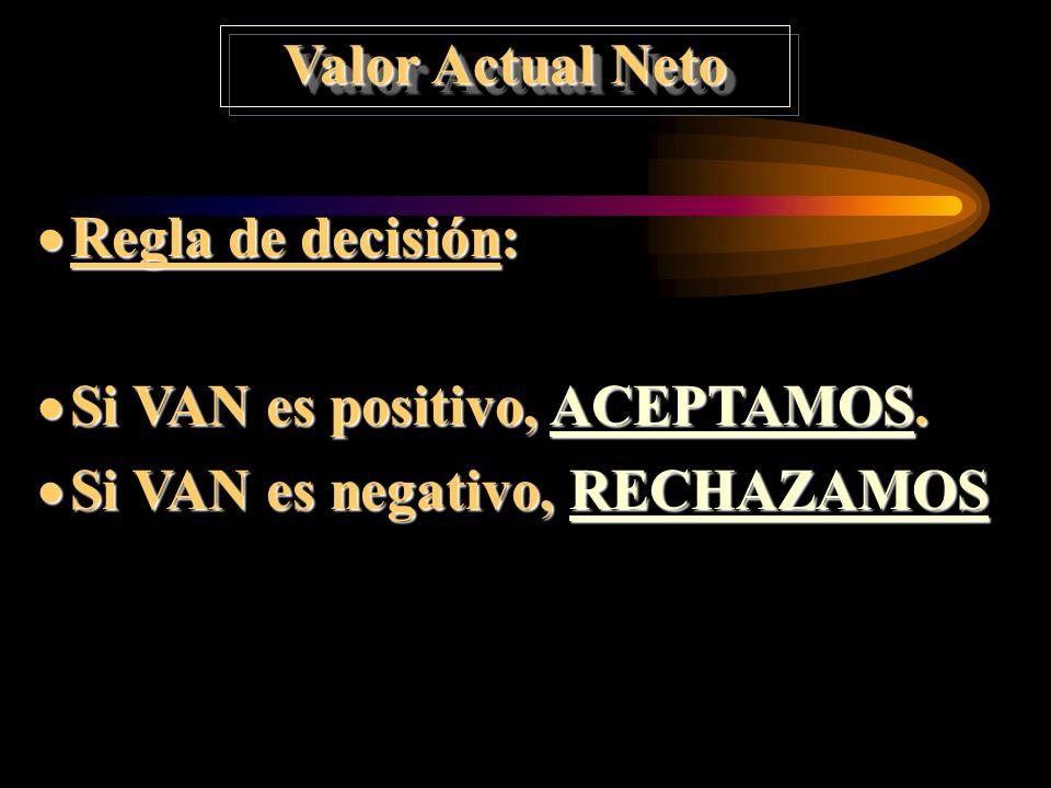Valor Actual Neto Regla de decisión: Si VAN es positivo, ACEPTAMOS. Si VAN es negativo, RECHAZAMOS