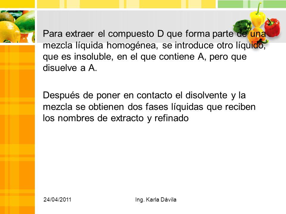 Para extraer el compuesto D que forma parte de una mezcla líquida homogénea, se introduce otro líquido, que es insoluble, en el que contiene A, pero que disuelve a A. Después de poner en contacto el disolvente y la mezcla se obtienen dos fases líquidas que reciben los nombres de extracto y refinado