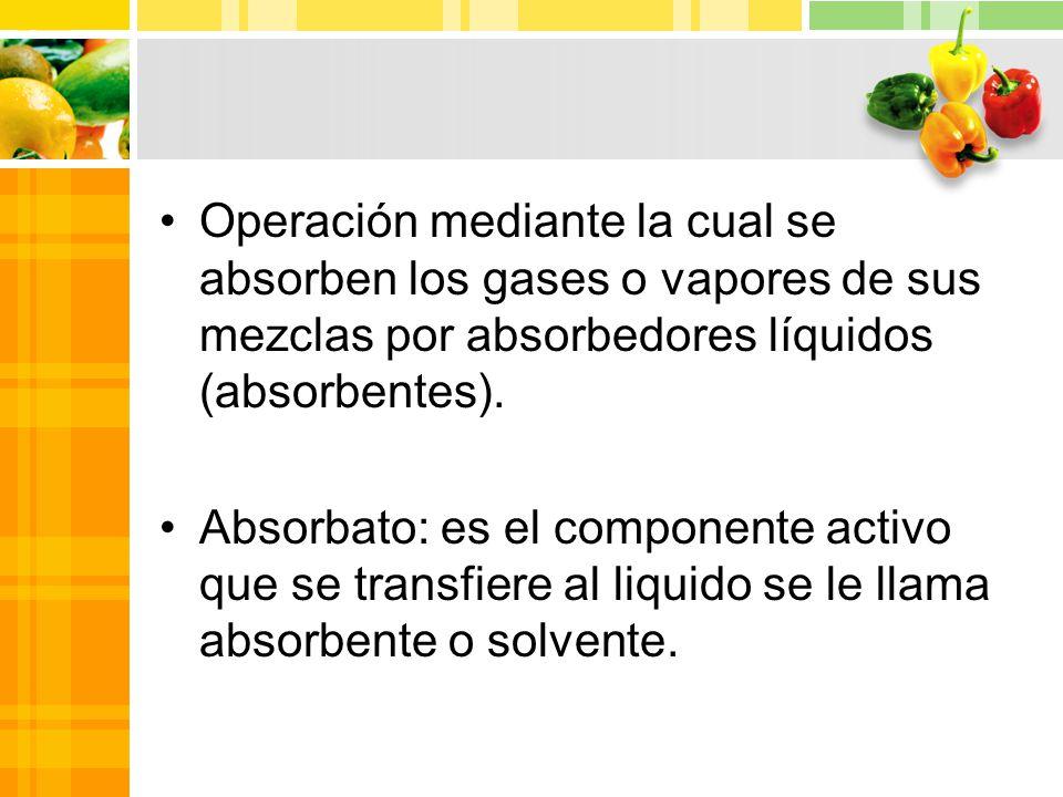 Operación mediante la cual se absorben los gases o vapores de sus mezclas por absorbedores líquidos (absorbentes).