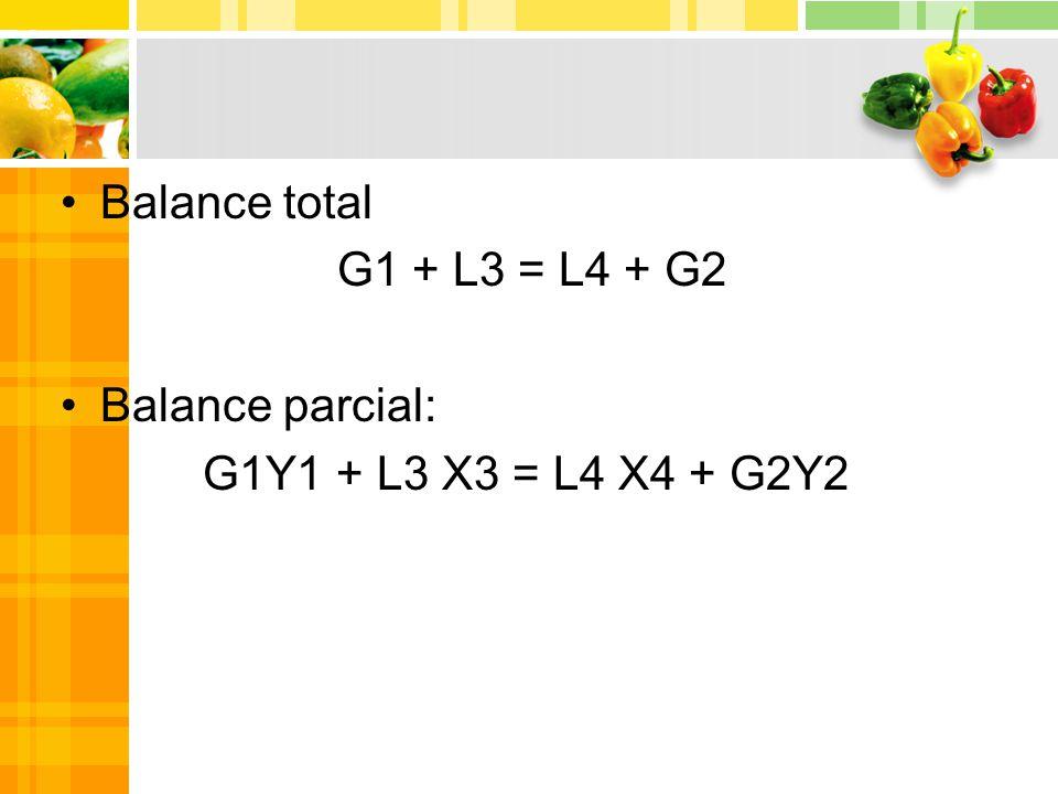 Balance total G1 + L3 = L4 + G2 Balance parcial: G1Y1 + L3 X3 = L4 X4 + G2Y2
