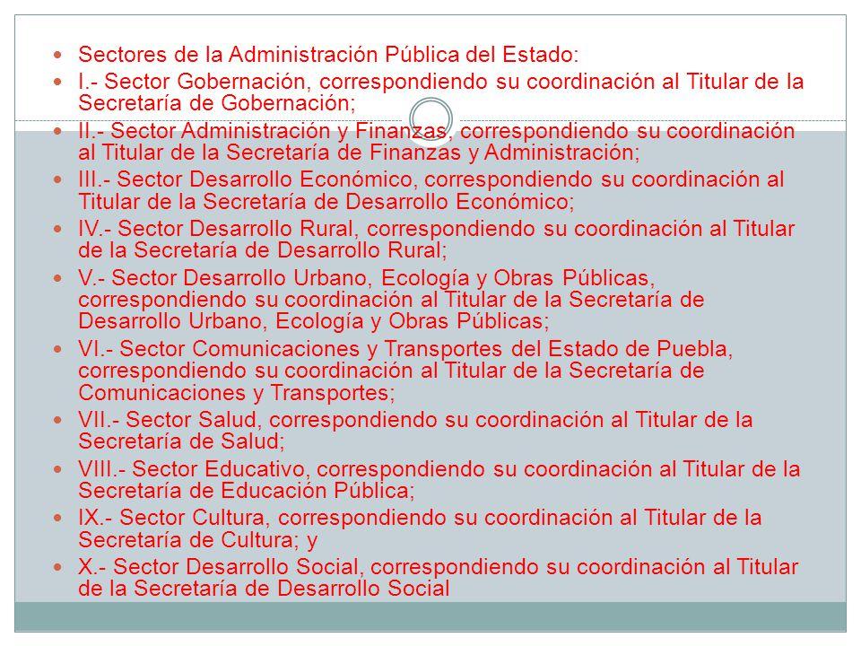Sectores de la Administración Pública del Estado: