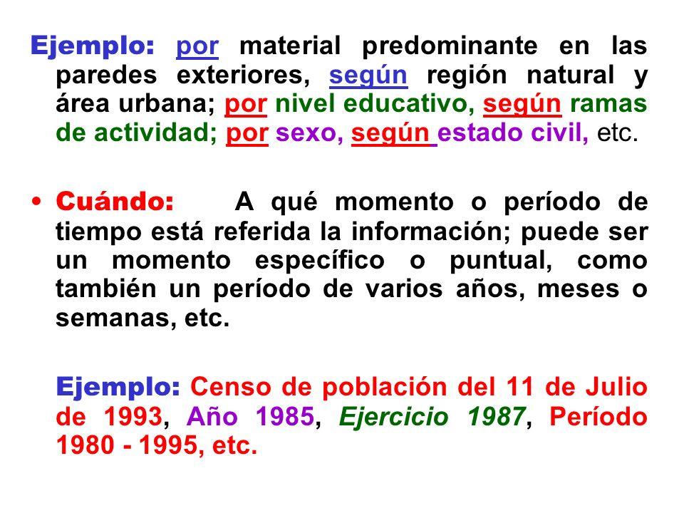 Ejemplo: por material predominante en las paredes exteriores, según región natural y área urbana; por nivel educativo, según ramas de actividad; por sexo, según estado civil, etc.