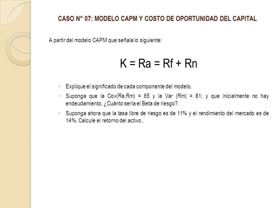 CASO N° 07: MODELO CAPM Y COSTO DE OPORTUNIDAD DEL CAPITAL