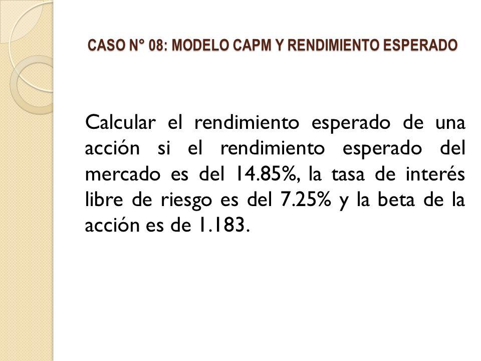 CASO N° 08: MODELO CAPM Y RENDIMIENTO ESPERADO