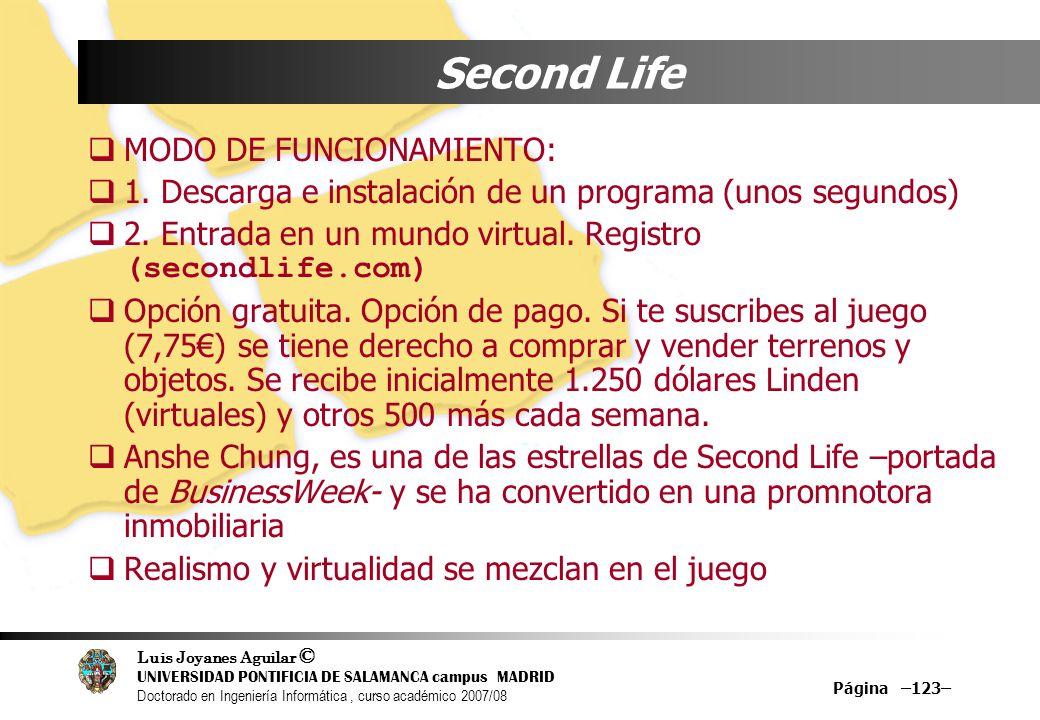 Second Life MODO DE FUNCIONAMIENTO: