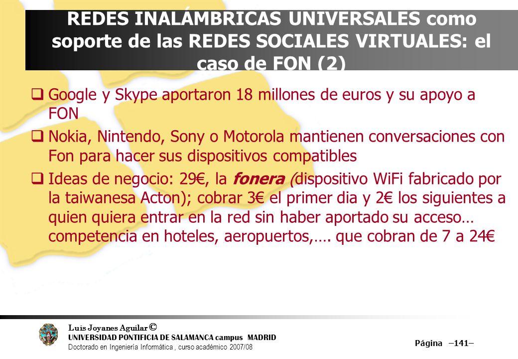 REDES INALÁMBRICAS UNIVERSALES como soporte de las REDES SOCIALES VIRTUALES: el caso de FON (2)