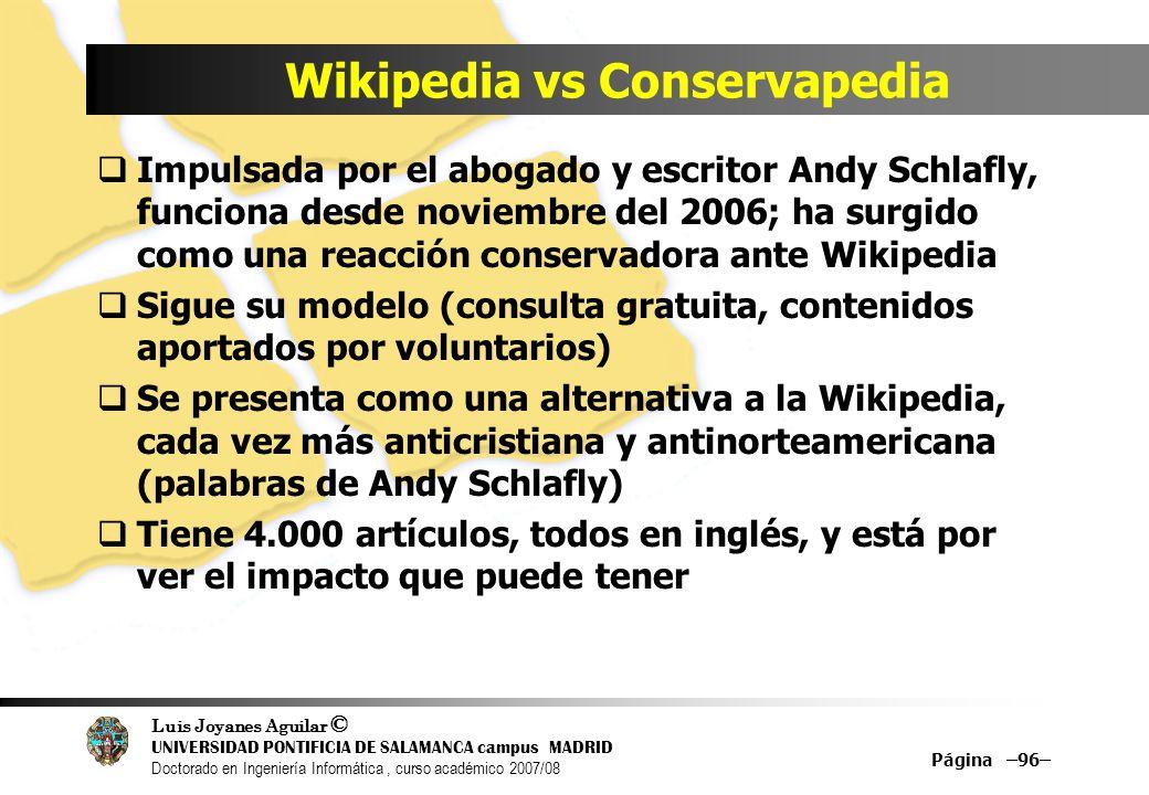 Wikipedia vs Conservapedia