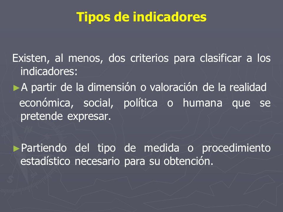Tipos de indicadores Existen, al menos, dos criterios para clasificar a los indicadores: A partir de la dimensión o valoración de la realidad.