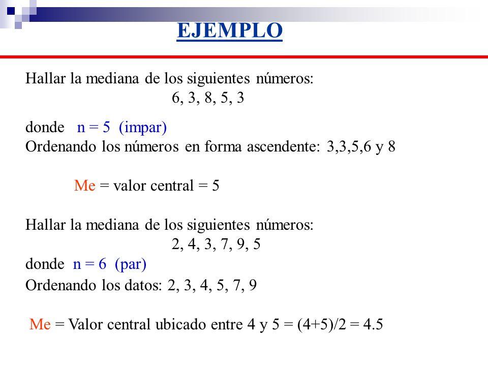 EJEMPLO Hallar la mediana de los siguientes números: 6, 3, 8, 5, 3