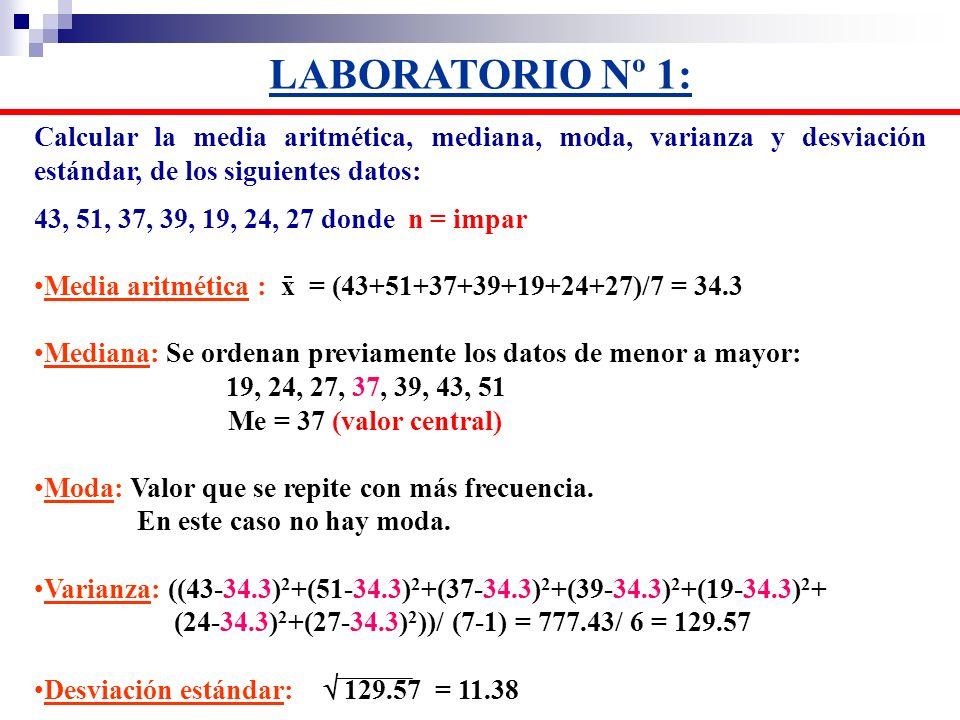LABORATORIO Nº 1: Calcular la media aritmética, mediana, moda, varianza y desviación estándar, de los siguientes datos: