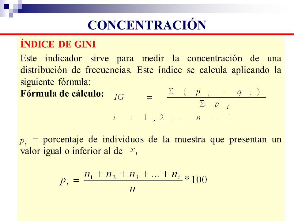 CONCENTRACIÓN ÍNDICE DE GINI