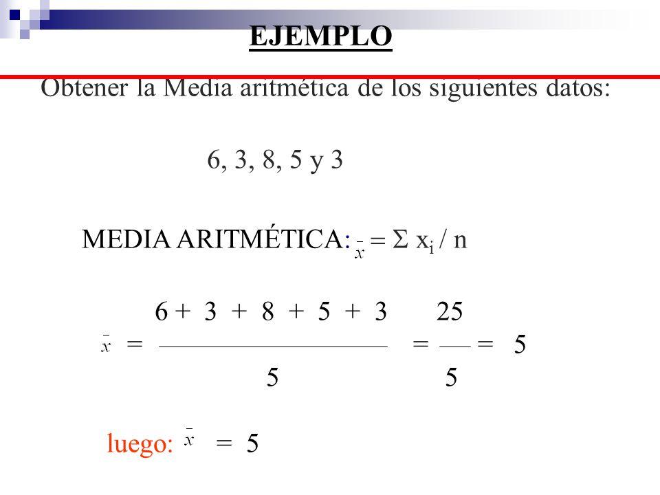 EJEMPLO Obtener la Media aritmética de los siguientes datos: