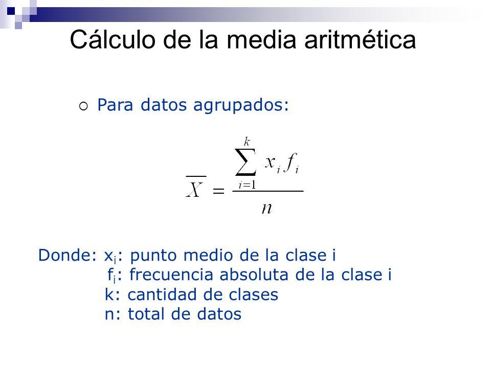 Cálculo de la media aritmética