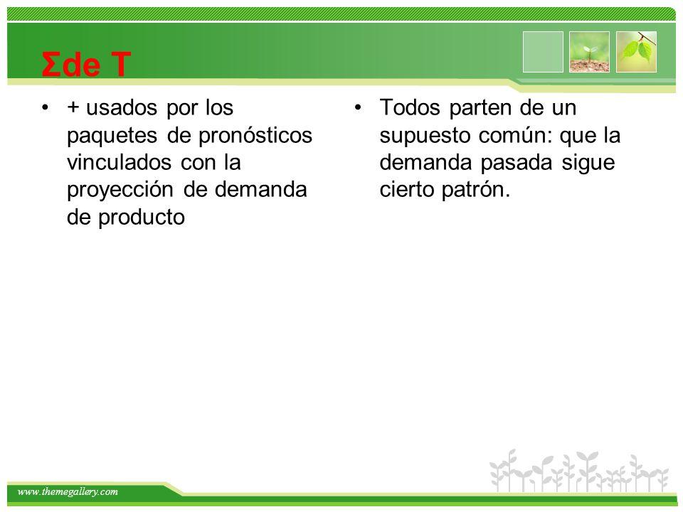 Σde T + usados por los paquetes de pronósticos vinculados con la proyección de demanda de producto.