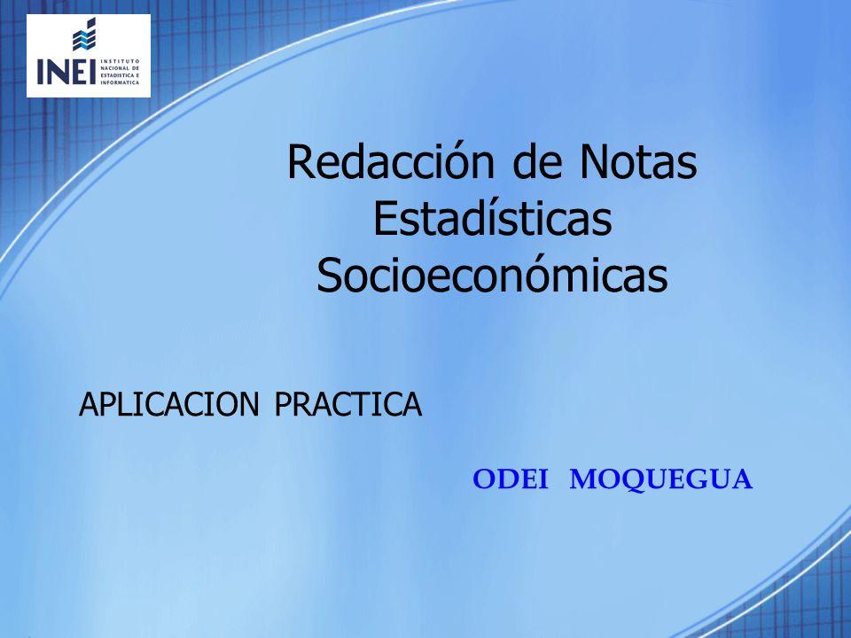 Redacción de Notas Estadísticas Socioeconómicas