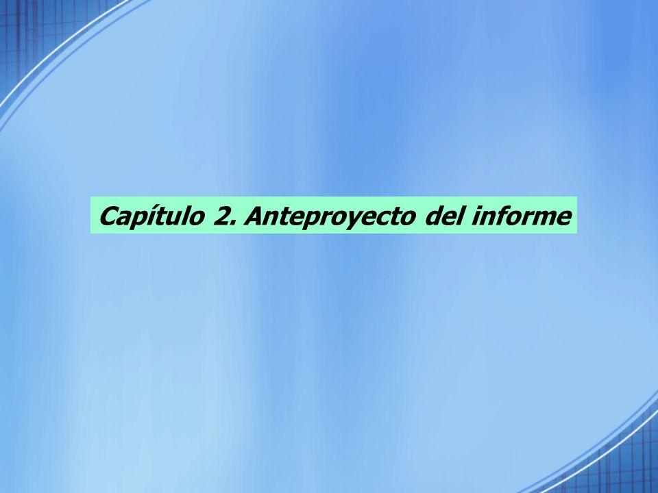 Capítulo 2. Anteproyecto del informe