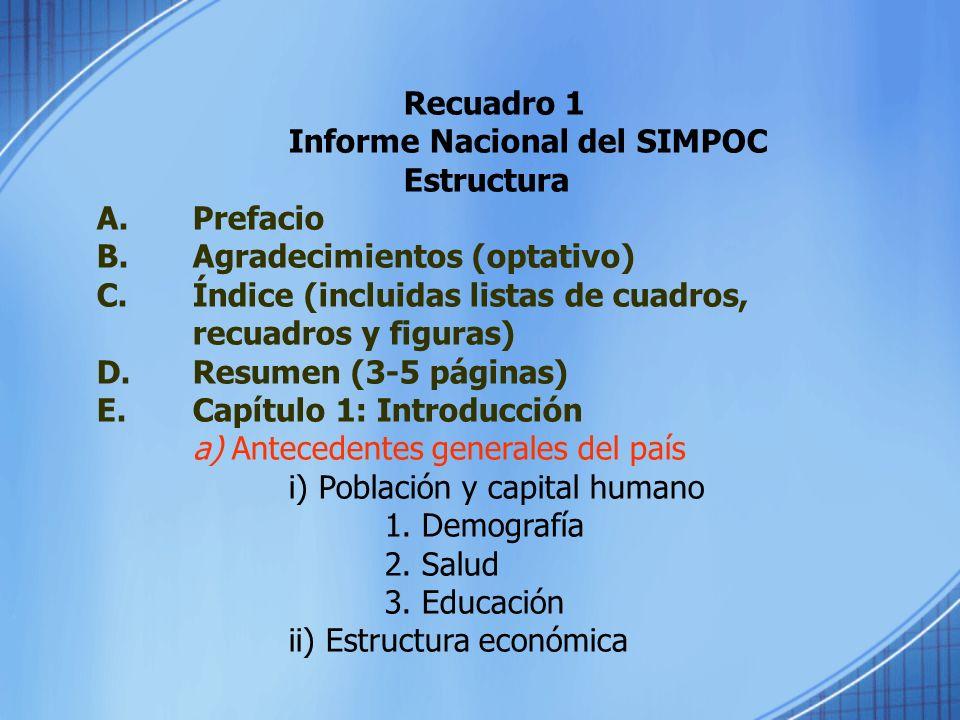 Recuadro 1Informe Nacional del SIMPOC. Estructura. A. Prefacio. B. Agradecimientos (optativo)