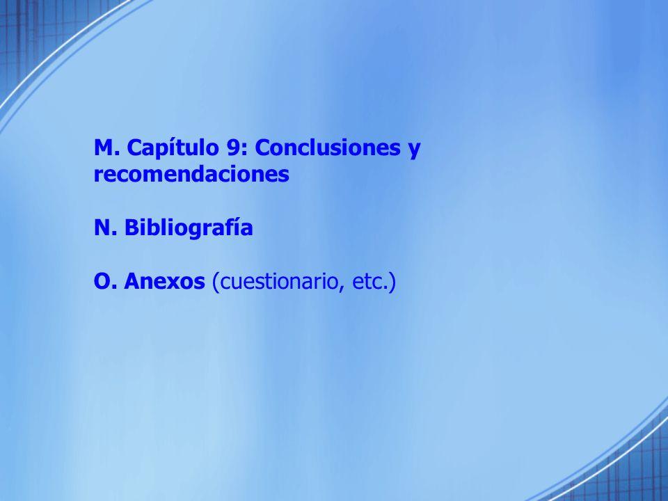 M. Capítulo 9: Conclusiones y recomendaciones