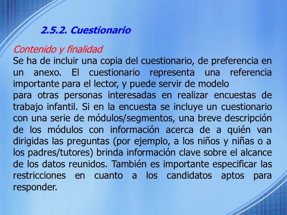 2.5.2. Cuestionario Contenido y finalidad.