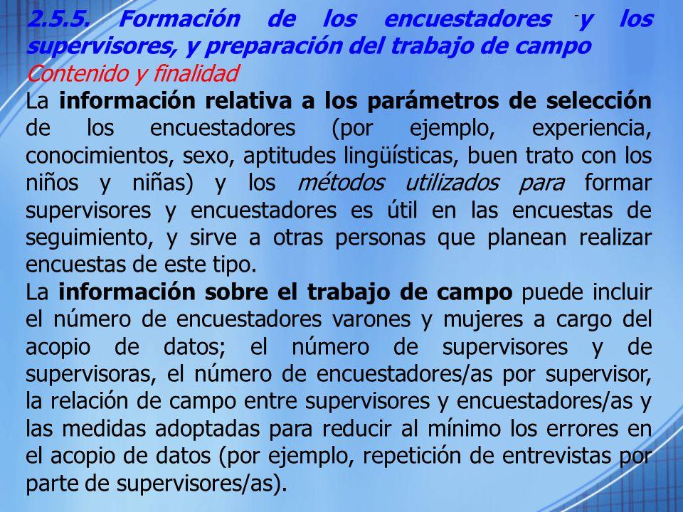2.5.5. Formación de los encuestadores y los supervisores, y preparación del trabajo de campo