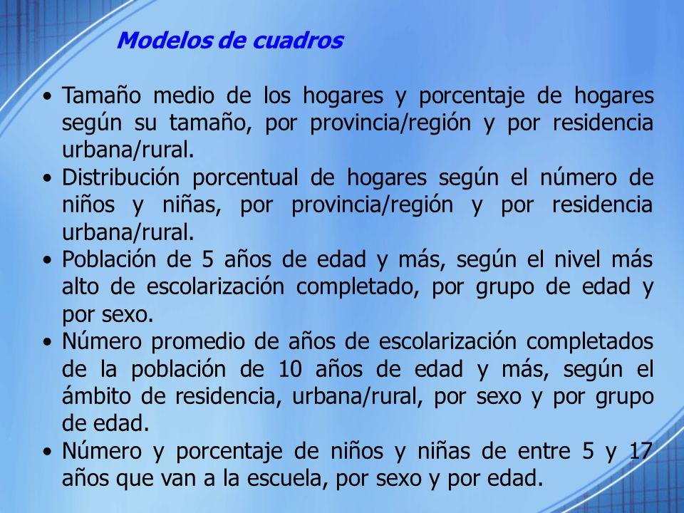 Modelos de cuadrosTamaño medio de los hogares y porcentaje de hogares según su tamaño, por provincia/región y por residencia urbana/rural.