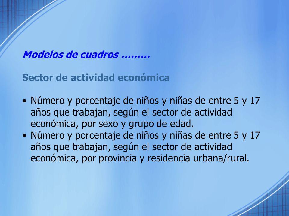 Modelos de cuadros ………Sector de actividad económica.