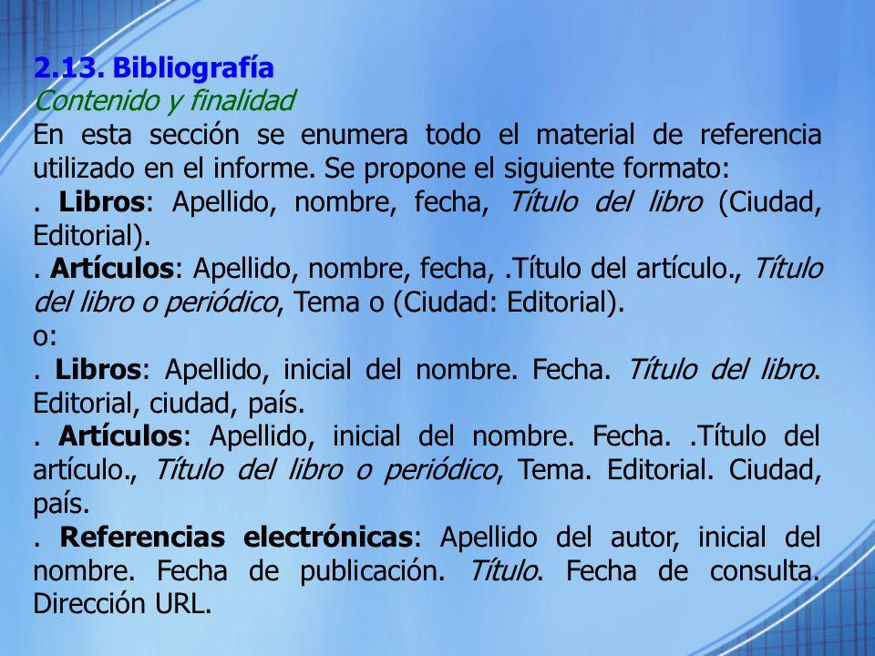 2.13. Bibliografía Contenido y finalidad.