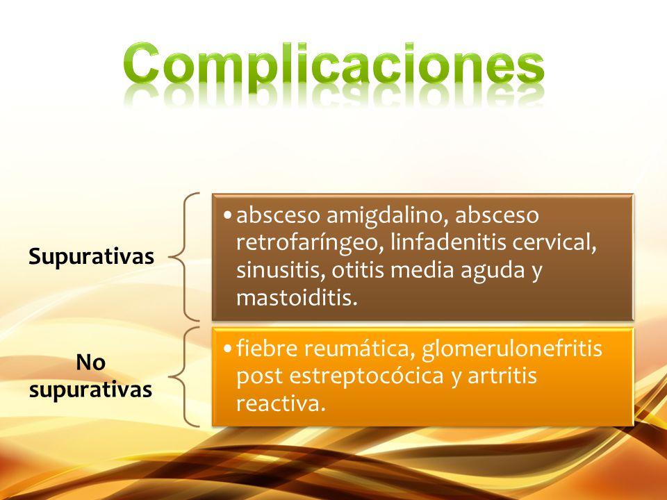 Complicaciones Supurativas. absceso amigdalino, absceso retrofaríngeo, linfadenitis cervical, sinusitis, otitis media aguda y mastoiditis.