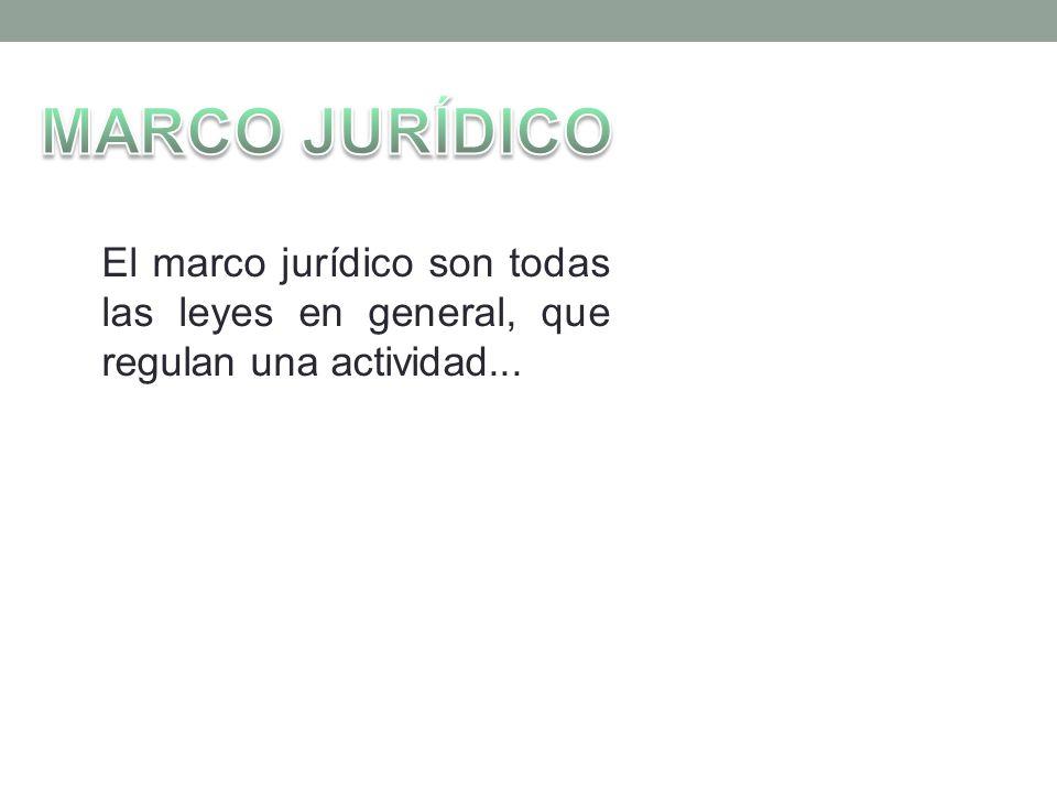 MARCO JURÍDICO El marco jurídico son todas las leyes en general, que regulan una actividad...
