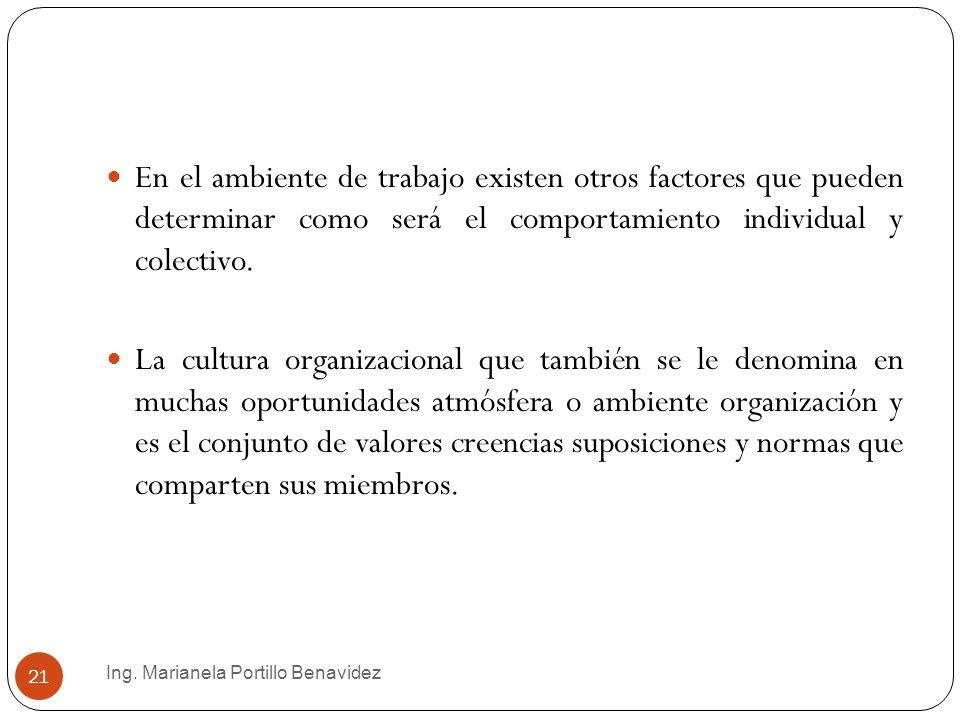 En el ambiente de trabajo existen otros factores que pueden determinar como será el comportamiento individual y colectivo.