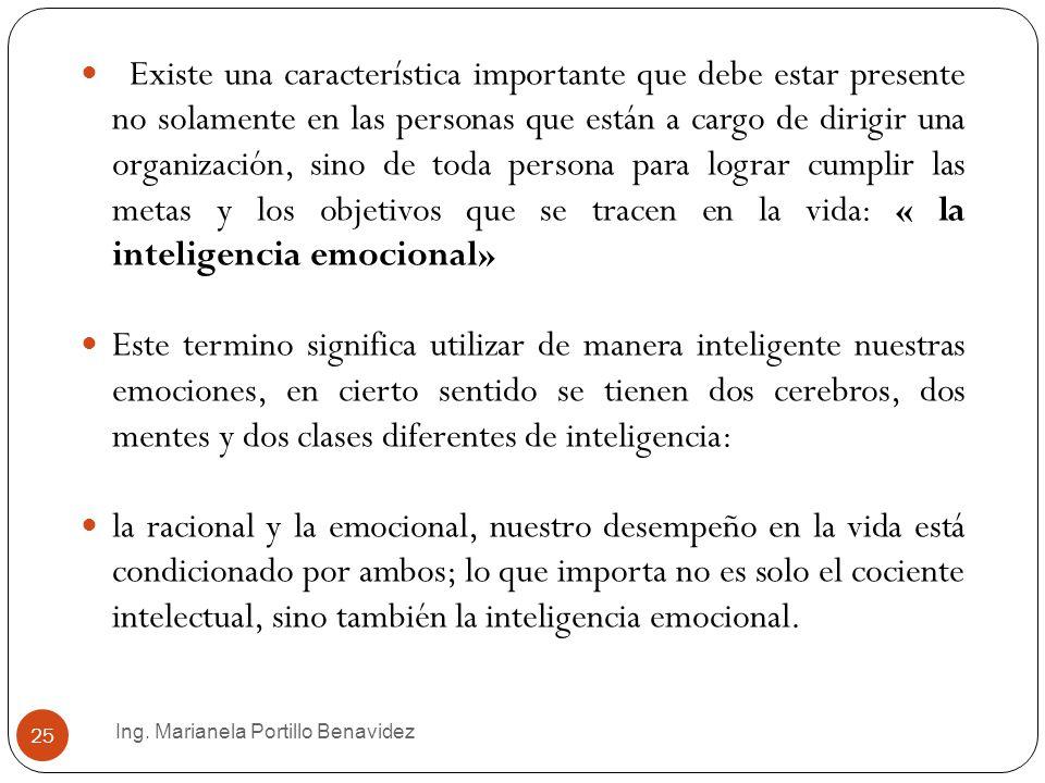 Existe una característica importante que debe estar presente no solamente en las personas que están a cargo de dirigir una organización, sino de toda persona para lograr cumplir las metas y los objetivos que se tracen en la vida: « la inteligencia emocional»