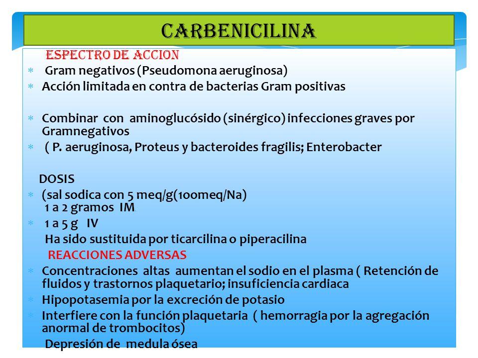 CARBENICILINA Gram negativos (Pseudomona aeruginosa)