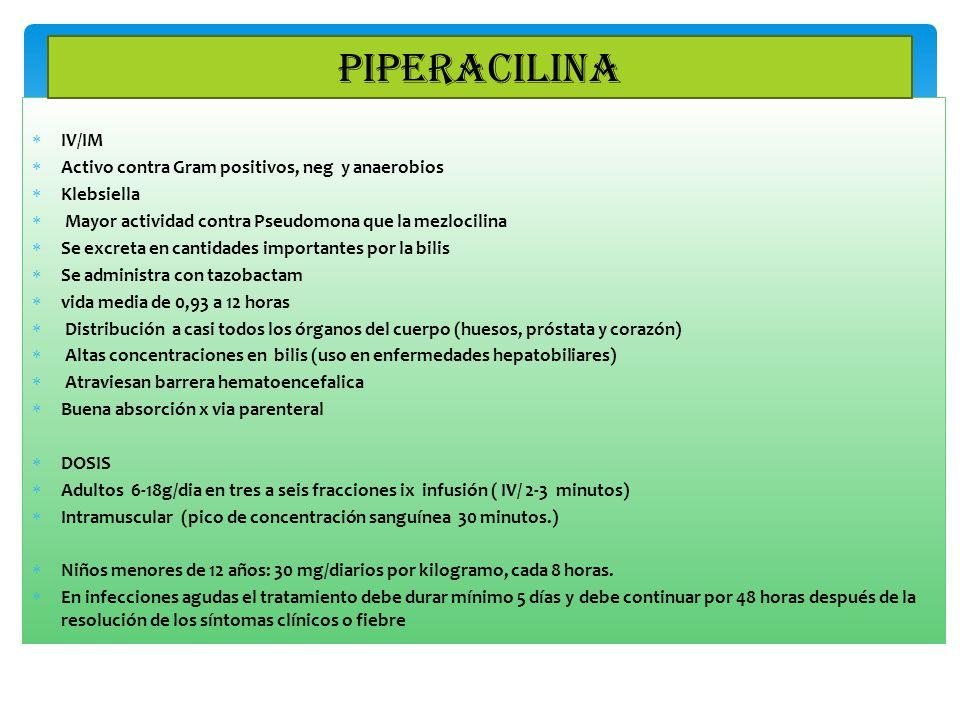 PIPERACILINA IV/IM Activo contra Gram positivos, neg y anaerobios