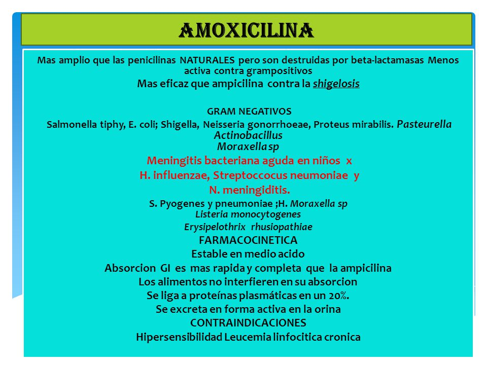 AMOXICILINA Meningitis bacteriana aguda en niños x