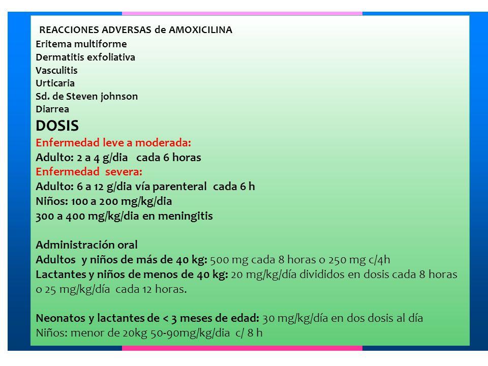 REACCIONES ADVERSAS de AMOXICILINA