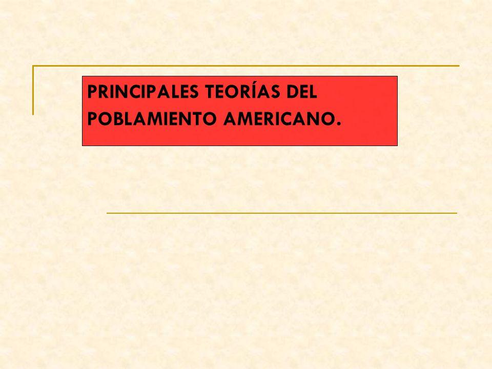 PRINCIPALES TEORÍAS DEL POBLAMIENTO AMERICANO.