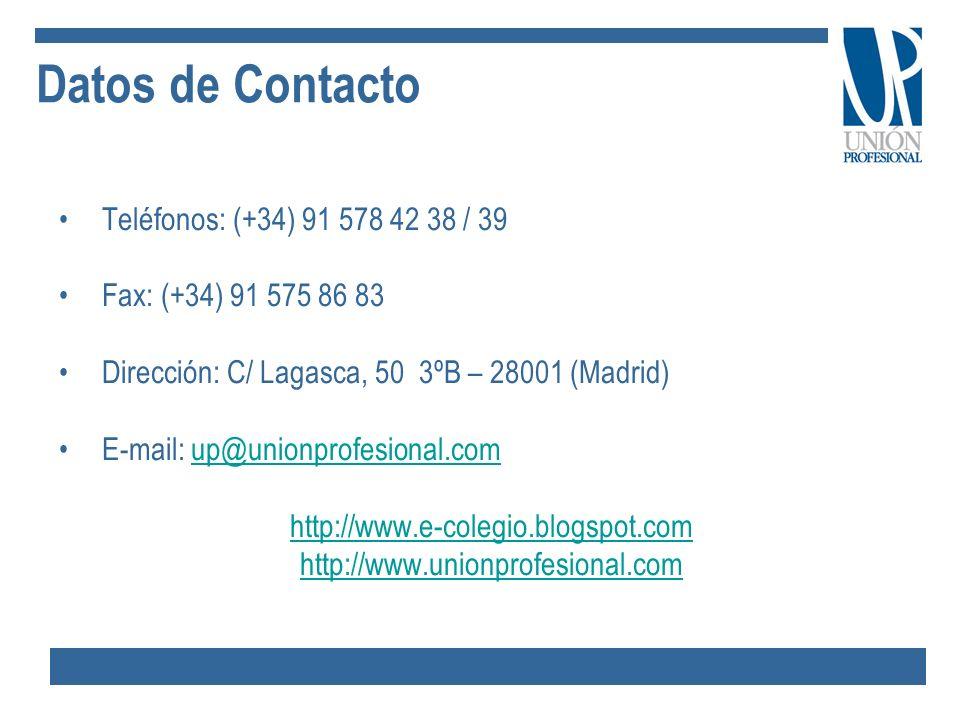 Datos de Contacto Teléfonos: (+34) 91 578 42 38 / 39