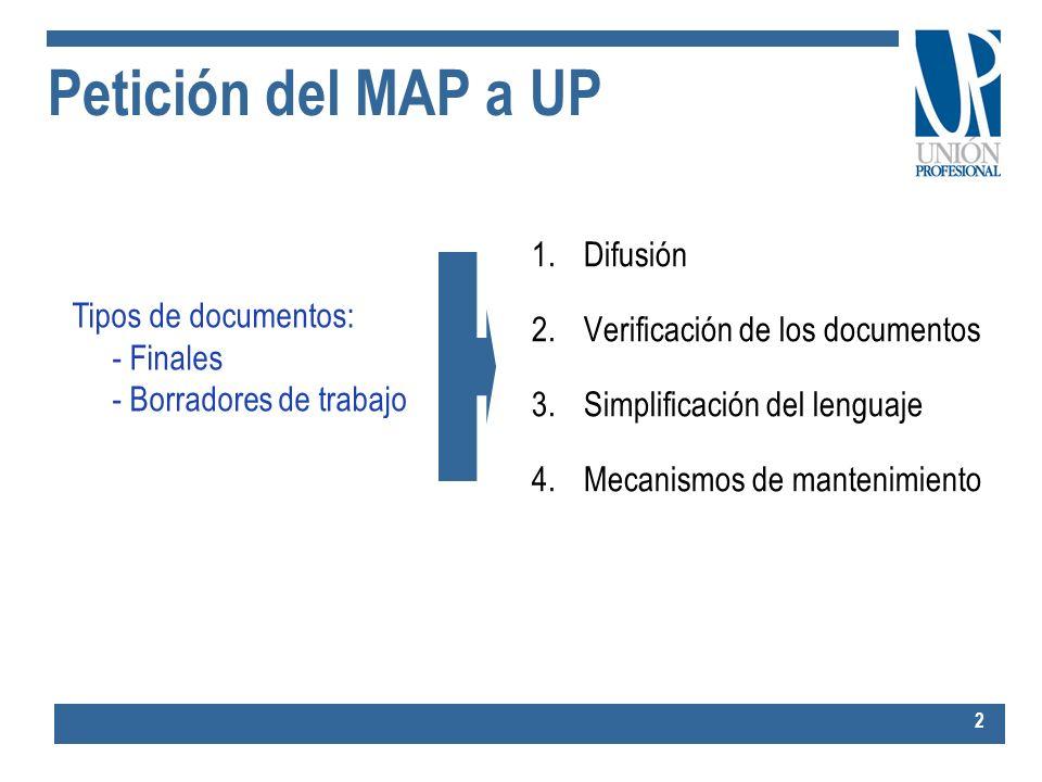 Petición del MAP a UP Difusión Verificación de los documentos