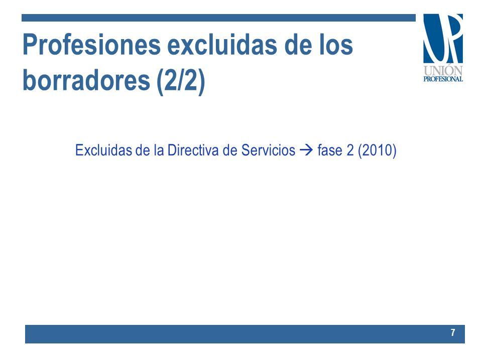 Profesiones excluidas de los borradores (2/2)